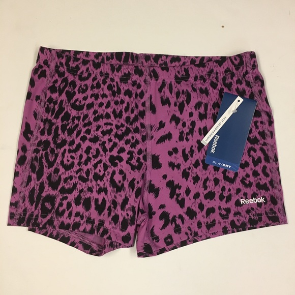 Reebok Pants - Reebok Purple Animal Print Compression Shorts